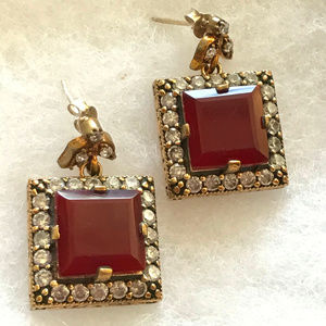NIB SS925 Turkish Square Ruby Topaz Earrings!